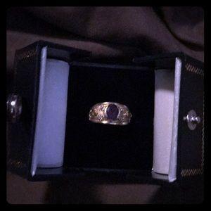 amethyst and peridot and diamond 14 k gold ring